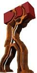 """Opera in acciaio che rappresenta una figura umana alta 14 metri nella esatta proporzione per reggere sulle spalle un container. Ricalca l'immagine dell'antico """"Caravana"""" o """"Camallo"""" , che si fa gigante per misurarsi con le dimensioni raggiunte dai pesi e dai volumi del trasporto marittimo, e si fa d'acciaio per incorporarsi nelle moderne tecniche portuali."""